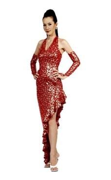 Stilig Rød Salsa Kjole Lange Kjoler