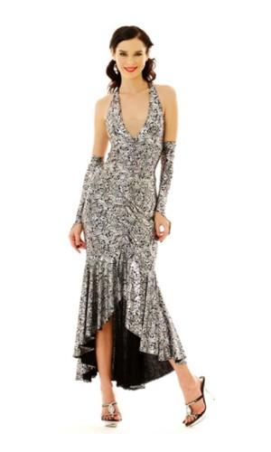 Stilig Sølv Salsa Kjole Lange Kjoler