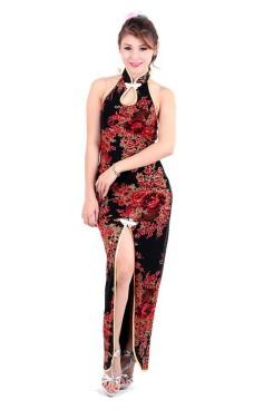 Stilig Svart Asiatisk Kjole