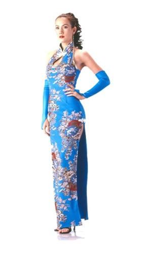 Stilig Turkis Cheongsam Asiatiske Kjoler