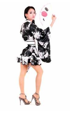Svart A-linje stil Kimono Kimono Kjoler