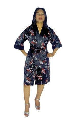 Svart Silke Morgenkåpe Unisex Kimono Morgenkåpe