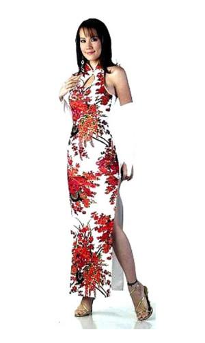 Trendy Hvit Cheongsam Asiatiske Kjoler